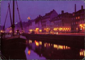 Kopenhagen København Aftenstemning i Nyhavn/Night at Nyhavn   am Hafen 1970