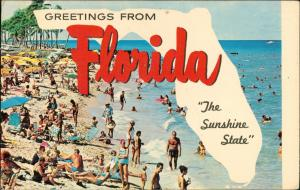 Florida Greeting Card, Landkarte, voller Strand, Beach-Scene 1981