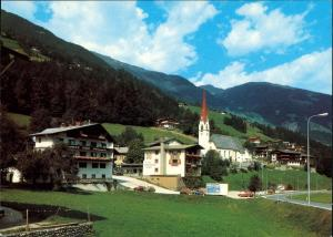 Hippach Ansicht Panorama mit Zillertal Blick auf Hotels Pensionen 1990