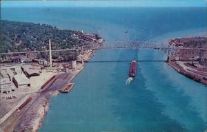 Michigan (Sehenswürdigkeiten) MICHIGAN THUMB SCENERY Port Huron Brücke Luftbild 1976