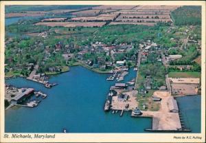 St. Michaels Luftbild Überflug mit Hafen-Anlage Aerial View 1979