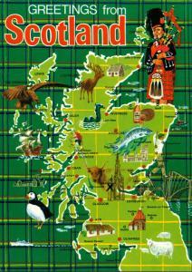 Postcard Schottland Scotpland Map Postcard, Landkarte 1970
