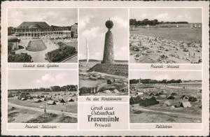 Travemünde-Lübeck Mehrbild-AK 5 Foto-Ansichten ua. Zeltleben, Priwall uvm. 1959