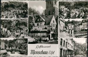 Monschau/Eifel Montjoie Mehrbild-AK Eifel Stadt mit 7 Echtfoto-Ansichten 1960
