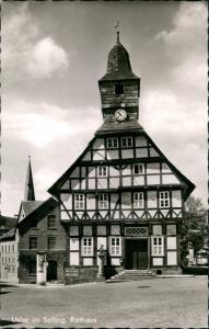 Ansichtskarte Uslar Rathaus Fachwerkhaus Strassen Partie 1960/1961