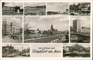 Frankfurt am Main Mehrbild: Flughafen, Bahnhof, Stadion und AEG Hochhaus 1957
