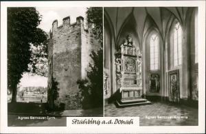 Ansichtskarte Straubing Agnes-Bernauer-Turm & Kapelle (Innenansicht) 1960