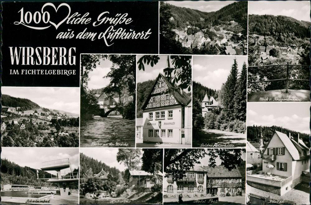 Wirsberg (Oberfranken) Fichtelgebirge  Schwimmbad, Rathaus-Sparkasse uvm. 1960 0