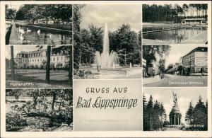 Bad Lippspringe MB mit Denkmal, Lippe-Quelle, Schwimmbad, Detmolder Str  1960
