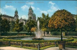 Ansichtskarte München Theatinerkirche Hofgarten Wasserkunst 1911