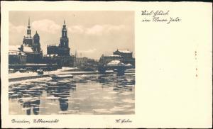 Dresden Glückwunsch - Neujahr/Sylvester Stadt im Winter 1930 Walter Hahn: