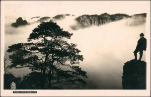 Ansichtskarte Schmilka Heringsgrund im Nebel Wanderer 1926 Walter Hahn:189