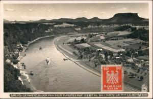 Ansichtskarte Rathen Luftbild Dampfer Fähre Lilienstein 1932 Walter Hahn:3203