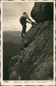Ansichtskarte Schmilka Bergsteiger am 2. Lehnsteigturm 1940 Walter Hahn:2726