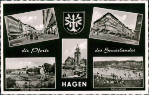 Hagen (Westfalen) 5 Fotos Freibad, Stadtmitte, Strandbad Mehrbildkarte 1960