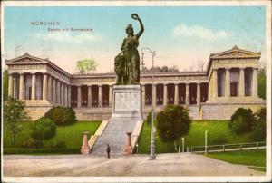 Ansichtskarte München Bavaria mit Ruhmeshalle Denkmal Skulptur 1911