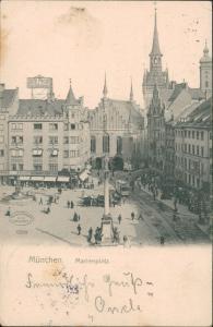 München Mariensäule  dem Marienplatz belebt Straßenbahn Kirche Werbetafel 1904
