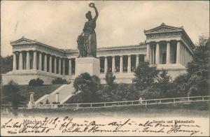 Ludwigsvorstadt-München Ruhmeshalle mit Bavaria Denkmal Skulptur 1904