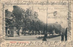 Ansichtskarte München Promenadenplatz Denkmal Skulptur Fußgänger 1904
