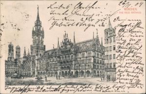 Ansichtskarte München Rathaus Frontalansicht Marienplatz Frauentürme 1904