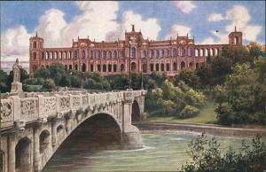 Ansichtskarte Haidhausen-München Maximilianeum Maximiliansbrücke Isar 1910