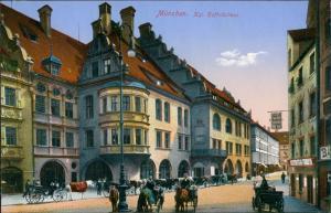 Ansichtskarte München Hofbräuhaus Vorderansicht Kutschwagen 1910