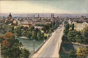München Blick von Maximilianeum über Maximiliansbrücke Türme 1912