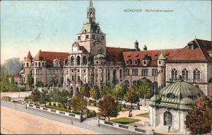 Ansichtskarte München Bayrisches Nationalmuseum Vorderansicht Turm 1908