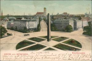 München Panorama Karolinenplatz Baselisk Frauenkirche Rondell 1903