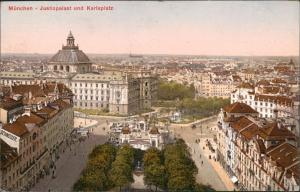 Ansichtskarte München Karlsplatz mit Justizpalast Panorama 1911