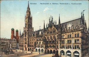 München Marienplatz Rathaus Mariensäule Fischbrunnen Frauentürme 1912