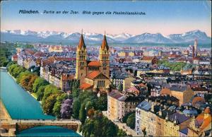 München Panorama Isarpartie Maximilianskirche Brücke Isar Gebirge 1930