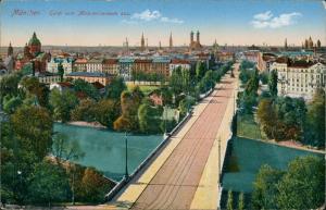 München Panorama Blick von Maximilianeum Maximiliansbrücke Türme Isar 1916