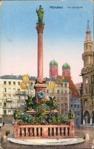 Ansichtskarte München Mariensäule Denkmal mit Flaggen 1923