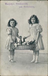 Ansichtskarte  Mädchen Präsentkorb Geburtstag 1914