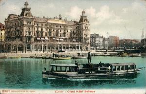 Ansichtskarte Zürich Grand Hotel - Fahrgastschiff 1906