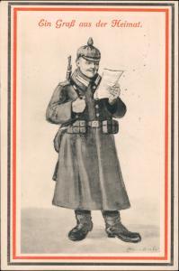 Künstlerkarte Militär 1. WK Soldat mit