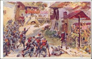Künstlerkarte Militär 1. Weltkrieg Sturm auf russisch besetztes Dorf 1916