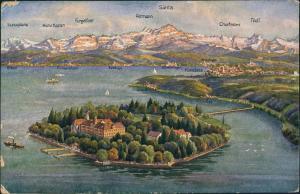 Ansichtskarte .Vorarlberg Blick auf Insel Mainau Konstanz Bodensee 1910
