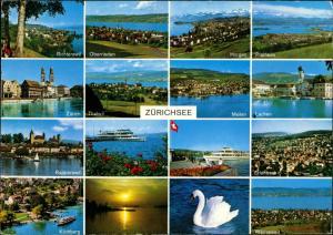 Ansichtskarte Zürich Mehrbildkarte mit 16 Foto-Ansichten 1980