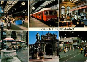 Ansichtskarte Zürich Hauptbahnhof Bahnhof Railway Station 1980