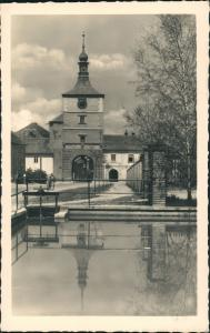 Postcard Welwarn Velvary Straßenpartie am Stadttor 1931