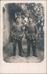 WK1 2 Soldaten Säbel KD Feldpoststation Nr 126 1915 Privatfoto