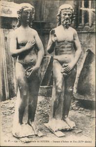 Rouen Cathédrale Statues d'Adam et Eve (XIV° siècle)/Kirche 1910