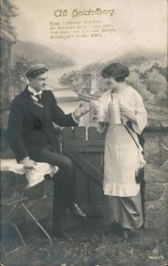 Heidelberg Fotokunst Fotomontage Alt-Heidelberg Paar mit Bierkrügen 1916