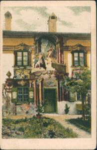 Oberammergau Künstlerkarte Lüftimaler Bemaltes Haus Untere Dorfstraße 1920