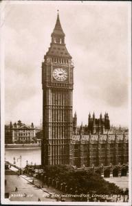Postcard London Big Ben Westminster Turmuhr 1934