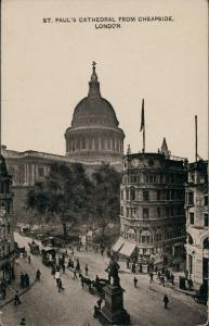 City of London-London St. Paul's Cathedral from Cheapside 1909