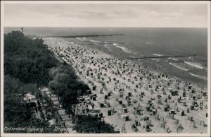 Postcard Kolberg Kołobrzeg Strand zun Lotsenturm 1934