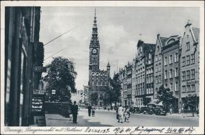 Postcard Danzig Gdańsk/Gduńsk Langer Markt, Autos 1941